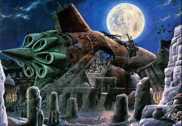 In der Mitte der Stadt lag ein riesiges außerirdisches Schiff, umgeben von Tempeln, die aus dem Felsen gehauen waren, auf dem das verfallene Fahrzeug ruhte. (Illustration von Bob Layzell)