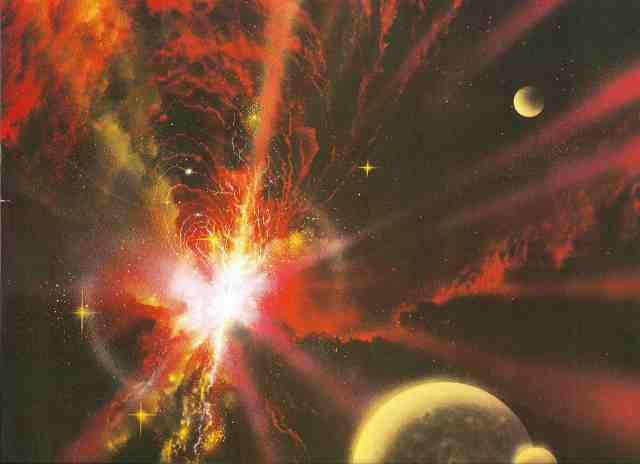 Für den nichtsahnenden Reisenden gibt es nichts am System Delta Gruis selbst, das auf die Gefahr hindeutet, die auf der Oberfläche des Planeten Eden lauert. Nur die Warnfunkfeuer, die diesen Raumbereich umringen, liegen zwischen der Realität und dem Wahnsinn. (Bild von Angus McKie)