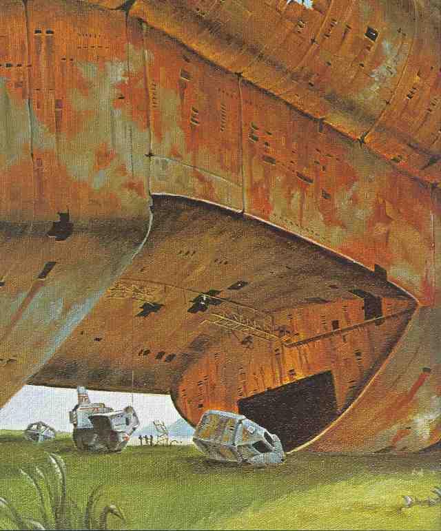 Ein Kettenfahrzeug der Terranischen Föderation untersucht den enormen rostenden Rumpf eines außerirdischen Siedlerschiffes.