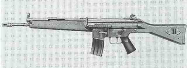 HK33-Variante G41, die das Magazin des amerikanischen Sturmgewehrs AR-15/M16 verwendet.