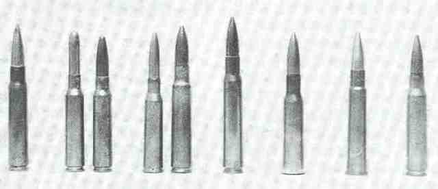 Infanteriepatronen des Zweiten Weltkriegs – von links nach rechts: 8 x 57 (Deutschland), 6,5 x 52 (Italien), 7,35 x 51 (Italien), 6,5 x 50 (Japan), 7,7 x 58 (Japan), .30-06 (USA), 7,62 x 54R (Sowjetunion), .303 British (Großbritannien), 7,5 x 54 (Frankreich).