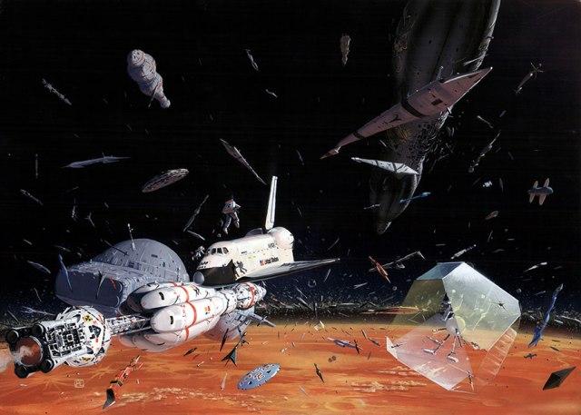 Der Friedhof von Beta Pavonis ist ein wahrhaft ehrfurchtgebietender Anblick. Unzählige tausende verlassener Schiffe kreisen endlos um den leblosen Globus des einzigen Planeten in dem System. Fast alle Fahrzeuge stammen von jenseits der bekannten Galaxis, und diejenigen, die identifiziert worden sind, kommen aus vielen Perioden unserer Geschichte. Eines der bemerkenswertesten davon ist der uralte und beinahe intakte Space Shuttle, der in den ersten Tagen des Raumfluges operieerte, noch bevor überhaupt die Föderation gebildet worden war. (Bild von Peter Elson.)
