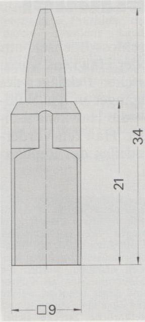 Schema der Patrone 4,7 x 21 mm hülsenlos.