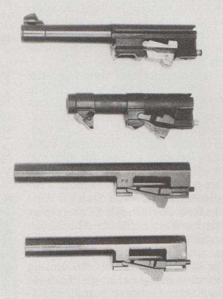 Läufe von Pistolen mit Schwenkriegelsystem, von oben nach unten: Walther P 38, Walther P 5, Beretta 92 und Llama 82.