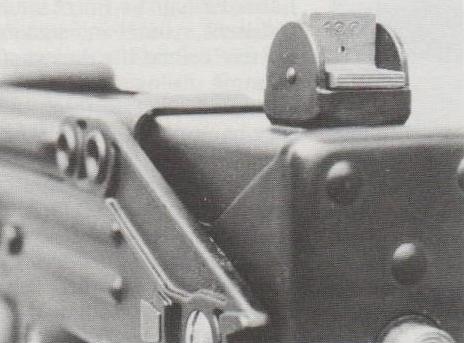 Die auf Distanzen von 100 und 200 m eingerichtete Klappkimme der Z-84.