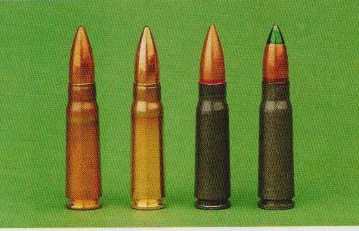 Unsere Testpatronen, von links nach rechts: Lapua M43, Lapua Sport, ung. Militärpatrone, ung. Leuchtspurpatrone.