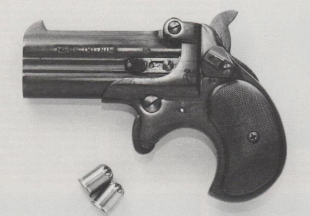 Noris-Derringer mit zwei 9 mm WADIE-Zentralfeuer-Gaspatronen mit je 80 mg CS-Reizstoff.