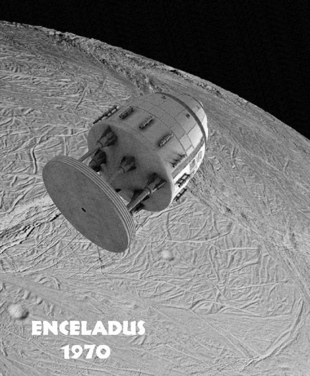 """""""Enceladus 1970"""" (die Bilder gehen von der Vorstellung aus, wie es wäre, wenn man Orion-Raumschiffe tatsächlich schon in den 1960ern konkret entwickelt und gebaut hätte)"""