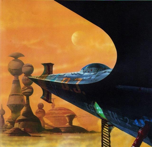 Das Vermessungsschiff D-3 der TTA ruht auf der Oberfläche von Salamander, dem einzigen Planeten des Systems Delta Phoenicis. Ganz in der Nähe liegt eine der eigenartigen keramischen Städte einer viel früheren und nun verschwundenen Generation von Kolonisten.